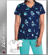 KD110 BY Barco North Shore Two Pockets V-Neck Print Scrub Top