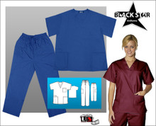 Black Star Unisex V-Neck Cargo Scrub Set Poplin
