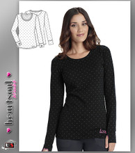 HeartSoul Women's Never-ending Love Long Sleeve Round Neck Tee Pewter