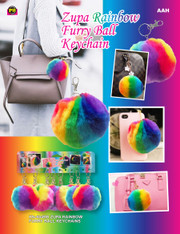 Rainbow Furry Ball Keychain