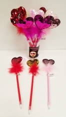 Sequin Heart Feather Pens