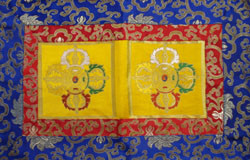 Brocade Altar Shrine cloth, with double dorjes