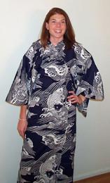 Swimming Fish Cotton Kimono, XL