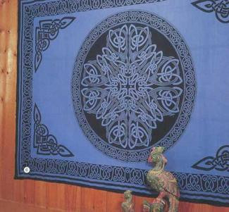 Blue Celtic Print bedspread, twin size, made from easy care Indian cotton. Affordable bedspreads which add color and life to any bedroom, living room or den.