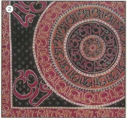 Om Tapestry Bedspread, Twin Size, Burgundy and black, made from easy care Indian cotton.