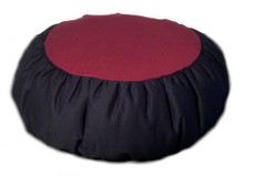 Round two color zafu meditation cushions are comfortable, snazzy and durable.