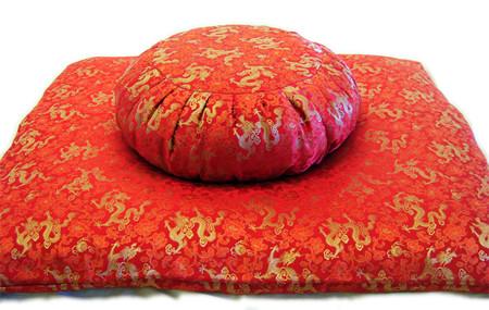 Silk brocade zafu meditation cushion and zabuton mat ensemble with is elegant and practical.