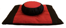 Zafu Meditation Cushion, Zabuton Mat Set, Two Color combination ensemble.