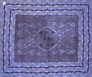 Celtic Spirals Tapestry in blue, Queen Size, made from easy care Indian cotton.