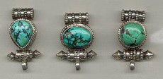 Gau Locket, Small sterling w/ turquoise. Oval