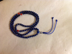 Lapis mala, with coral resting beads, 6mm