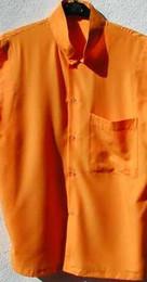 Saffron Cotton meditation shirt, long sleeve, Tibetan style