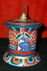 Om Mani Prayer Wheel, Hand Painted
