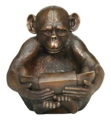 Bronze Monkey with Book