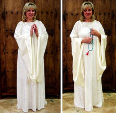 Angelic Meditation Robe is perfect for spiritual practice, inspirational study and special ceremonial occasions. Made with easy care fabrics, no dry cleaning necessary.
