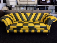 Norwich City Colours Leather Chesterfield Sofa