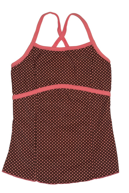 Brown and Peach Dot with Peach Trim Full Top