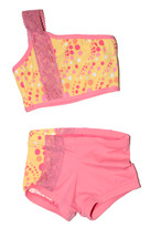 Yellow and Bubblegum Pink Circle Pattern with Peach Lace Angle Set