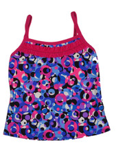 Multi Circle Fuchsia Pattern with Fuchsia Ruffle Trim Full Top