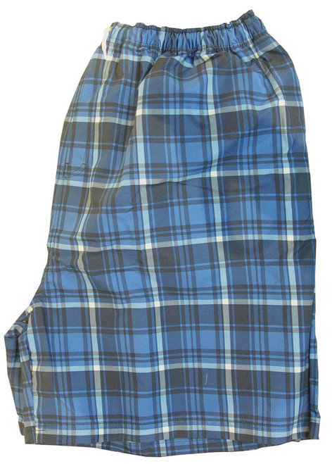 King Size Blue Plaid Swim Trunks 2X, 3X