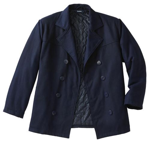 King Size Navy Blue Wool Pea Coat LT, XL, 2X, 2XT, 3X, 3XT, 4X, 4XT, 6X