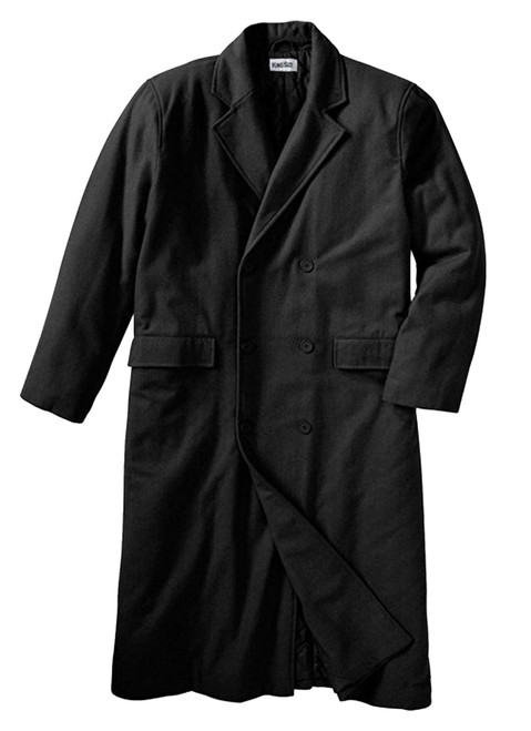 King Size Double-Breasted Wool Long Coat XL, XLT, 2X, 2XT, 3X, 3XT, 4X, 4XT, 5X, 6X