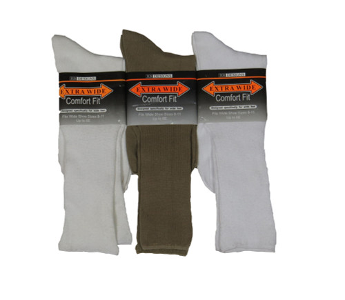 Extra Wide Comfort Socks 3 for $6.99 Sizes 8-11, 11-16