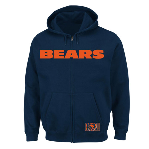 Majestic Chicago Bears Full Zip Heavyweight Embroidered Fleece Hoodie 2X, 2XT, 3X, 3XT, 4X, 5X, 6X
