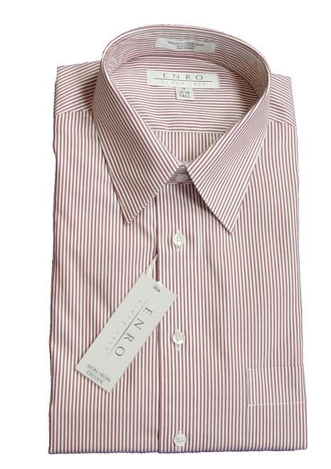 Enro Long Sleeve Dress Shirt Chipotle Stripe 17, 18, 18.5, 19