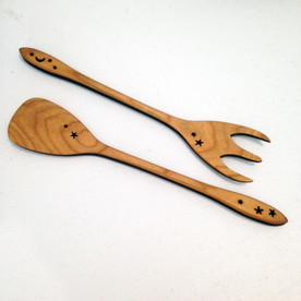 Wood Salad Servers with stars