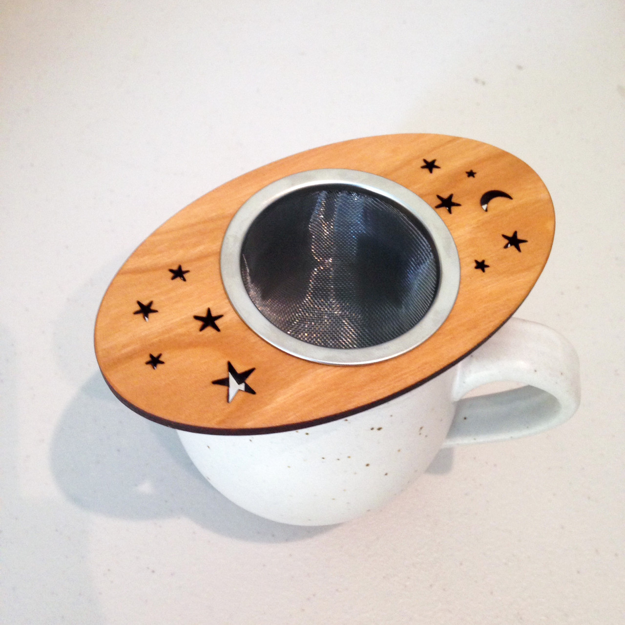 moon and stars wooden tea steeper made in the usa