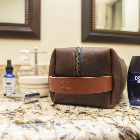 Leather Dopp Kit   Made in the USA