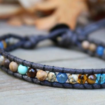 Single Wrap Beaded Bracelet - Blue and Brown