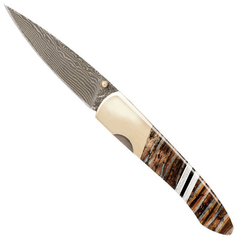 "Woolly Mammoth Tooth Collection 4"" Damascus Linerlock Knife"