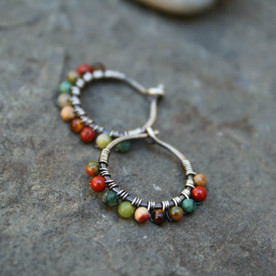 Desert Calico Beaded Hoop Earrings - 1/2""