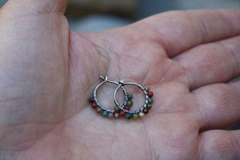 Multi-colored beaded hoop earrings
