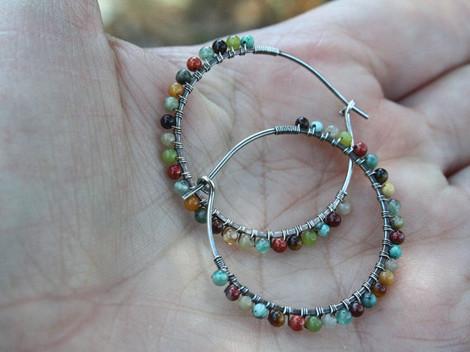 """Desert Calico Beaded Hoop Earrings - 1.25"""""""