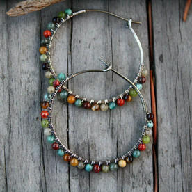 Desert Calico Beaded Hoop Earrings - 1.25""