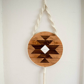Round Macrame Wood Wall Art Hanging - Carme 12""