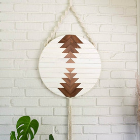 Round Macrame Wood Wall Art Hanging - Callisto 12""