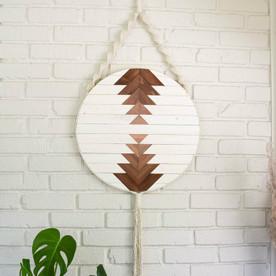"Round Macrame Wood Wall Art Hanging - Callisto 12"""