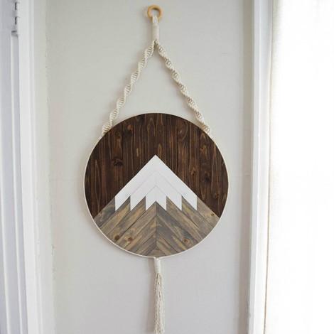 Mt. Shasta Round Macrame Wood Wall Art Hanging