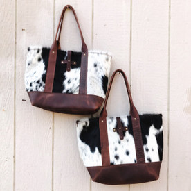 Leather Tote with Cowhide