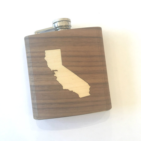 Engraved flask with California inlay