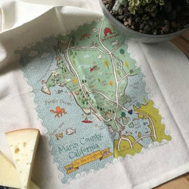 Marin county map tea towel
