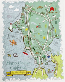 Marin county illustrated map