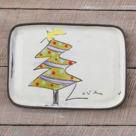 Rectangular Christmas tree plate