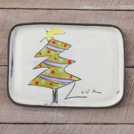 Rectangular Christmas tree plate