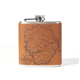 Yosemite Engraved Leather Flask