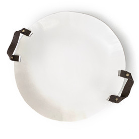 ceramic and leather platter
